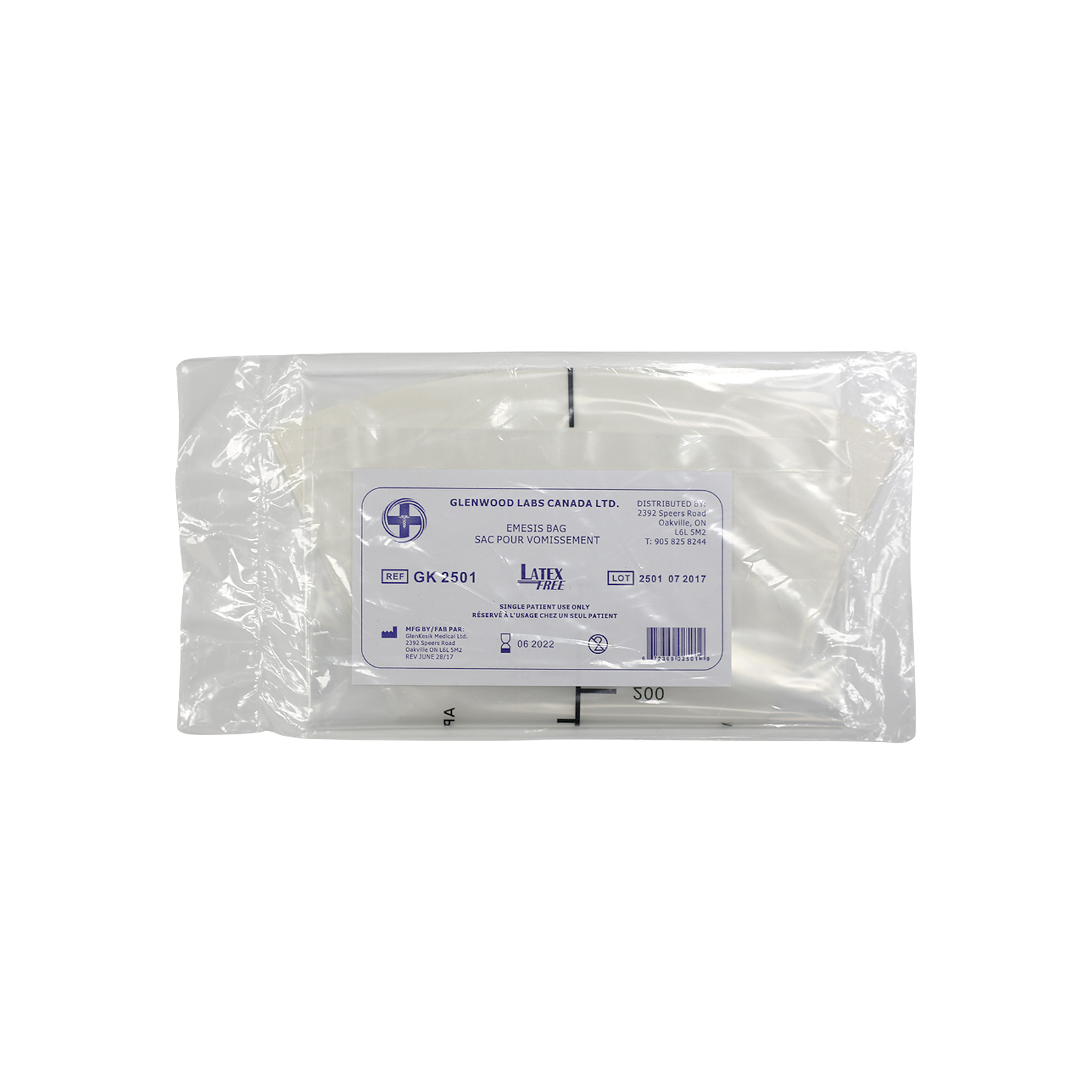Picture of HANSAmed Emesis (Vomit) Bags, Universal Face Fit - Child & Adult, 10 bags/case