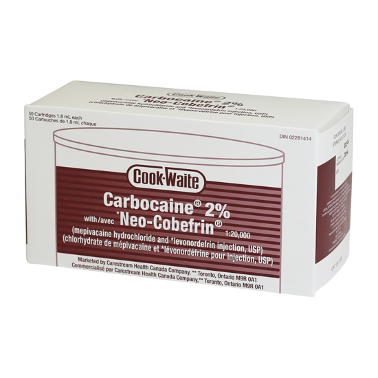 Picture of Cook-Waite Carbocaine® 2% w/ Neo-Cobefrin® (mepivacaine) , 50x1.7ml Carp/Bx