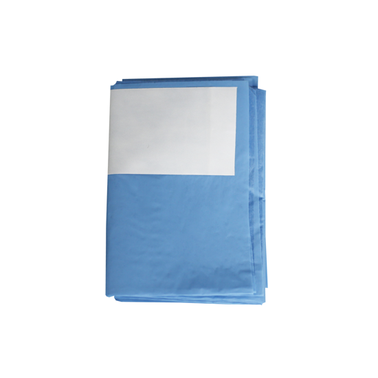 "Picture of OMNIA® Fluid-repellent drape 52.4""x78.8"" w/adhes Ushaped cut 2.56""x19.7"" & loop, 10 Drape/Bx"