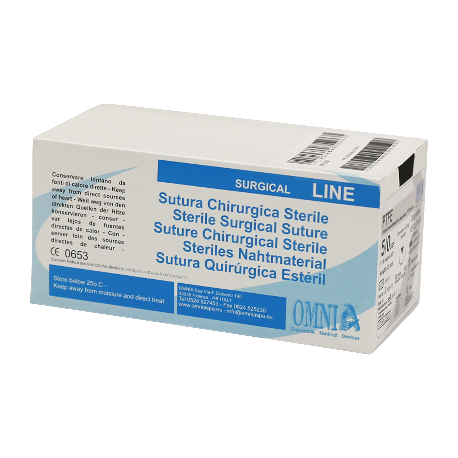 Picture of OMNIA® PTFE 3/0 Suture 75cm, Sharp tip 19mm, 3/8, 12 Sutures/Bx
