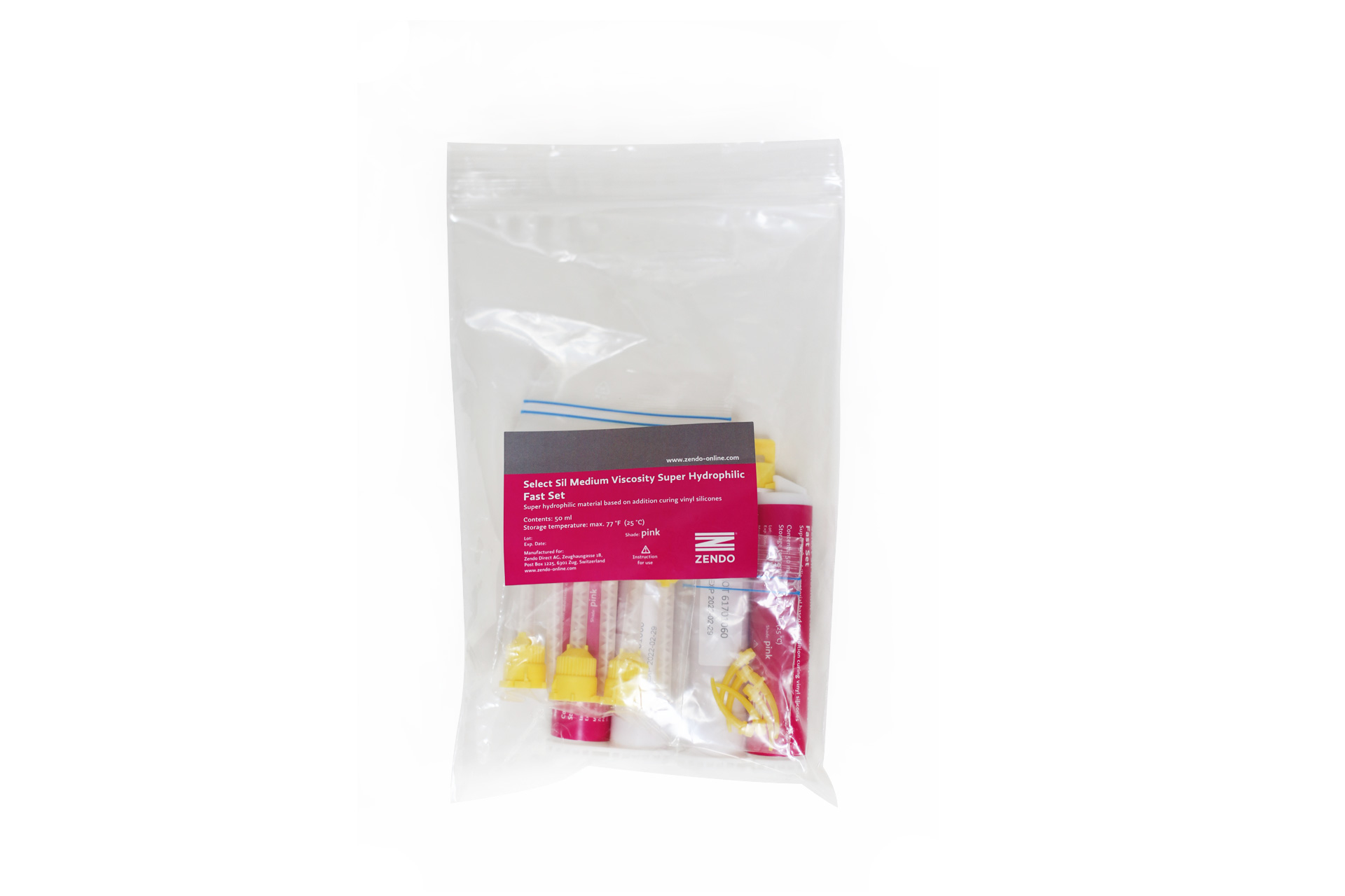 Picture of Zendo SELECT SIL, MEDIUM BODY, PNK FAST SET  2 cartridges of 50 ml, 6 mixing tips + 6 mixing canula